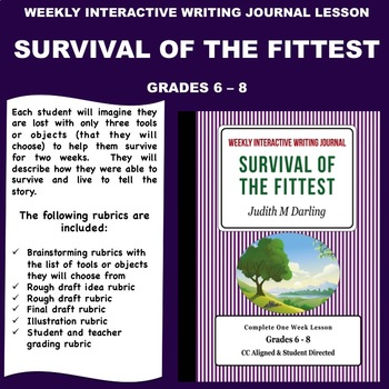 Interactive Weekly Writing Notebook Lesson - Survival Of The Fittest-CC Aligned