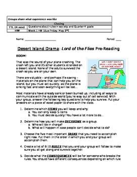 Survival Scenario Activity (Lord of the Flies pre-reading)