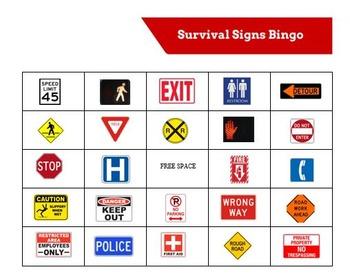 Survival Signs Bingo