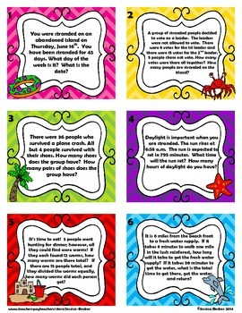 Survival Themed Math Mixed Review Task Cards