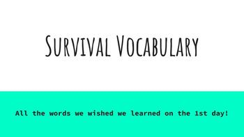Survival Vocabulary Power Point