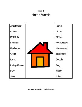 Survival Vocabulary Unit 1: Home Words Definitions Packet