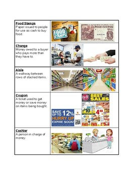 Survival Vocabulary Unit 5: Food Store Words Vocabulary Table