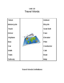 Survival Vocabulary Unit 10: Travel Words Definitions Packet