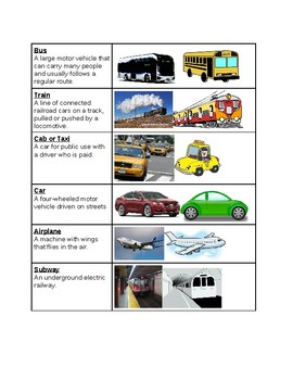 Survival Vocabulary Unit 10: Travel Words Vocabulary Table