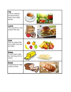 Survival Vocabulary Unit 2: Food Words Vocabulary Table