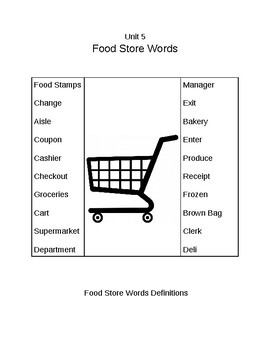 Survival Vocabulary Unit 5: Food Store Definitions Packet