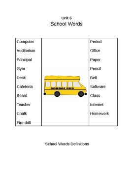 Survival Vocabulary Unit 6: School Words Definitions Packet