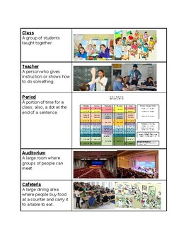 Survival Vocabulary Unit 6: School Words Vocabulary Table