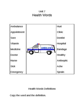 Survival Vocabulary Unit 7: Health Words Definitions Packet
