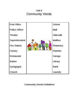 Survival Vocabulary Unit 8: Community Words Definitions Packet