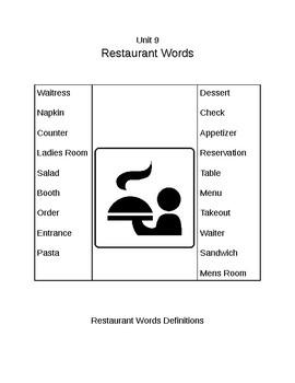 Survival Vocabulary Unit 9: Restaurant Words Definitions Packet