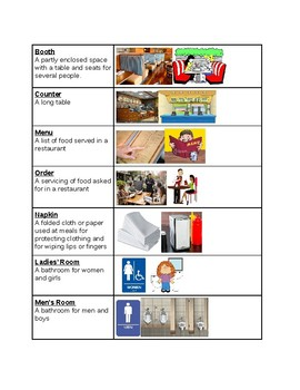 Survival Vocabulary Unit 9: Restaurant Words Vocabulary Table