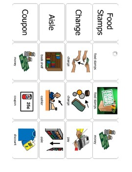 Survival Vocabulary Unit 5: Boardmaker Food Store Words