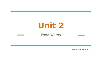 Survival Vocabulary Unit: Food Words