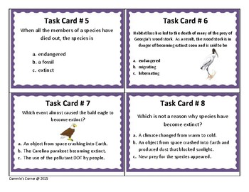 Survival of Species Task Cards