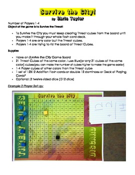 Survive The City an Addition Flash Card Game for Fact Fluency