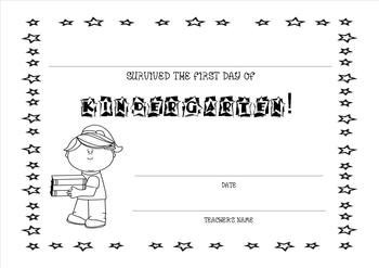 Editable Survived the First Day of Kindergarten Certificate-Girl