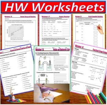 HS Chemistry Essential Skills 61 Worksheets Super Bundle; A Whole Year Resource