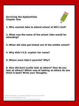 Surviving the Applewhites Book Unit