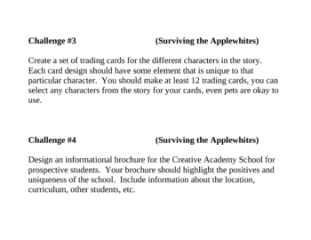 """Surviving the Applewhites"", by S. Tolan, Project Challenges"