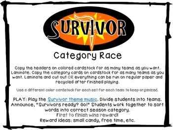 Survivor: Category Challenge: Seasons Freebie