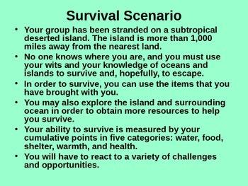 Survivor Island Scenario Activity/Game