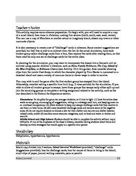 Survivor Island Scenario Supplies - Instructions