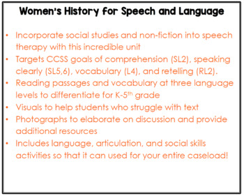 Susan B. Anthony (Activities for Speech Therapy)
