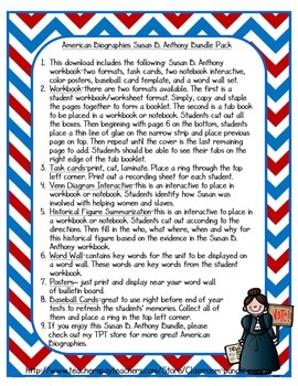 Susan B. Anthony Bundle Pack (Task Cards Included)