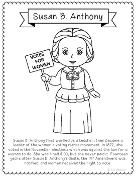 Susan B. Anthony Biography Coloring Page Activity or Poste