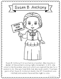 Susan B. Anthony Biography Coloring Page Craft or Poster, Women's Rights