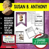 Susan B. Anthony Biography Research, Bookmark Brochure, Pop-Up, Writing