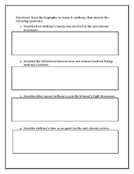Susan B. Anthony Biography with Reading Comprehension Questions