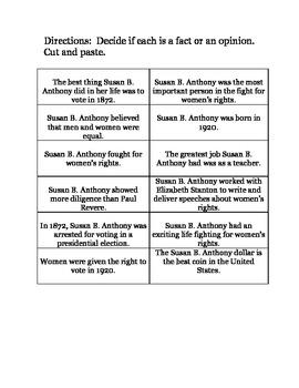 Susan B. Anthony - Choice Board