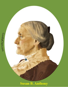 Susan B. Anthony Realistic Clip Art, Coloring Page and Poster
