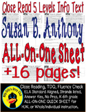 Susan B Anthony Close Read 5 Level Passages Fluency, TDQ's, +16 pages Info Text
