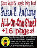 Susan B Anthony Close Read 5 Level Passages Fluency, TDQ's