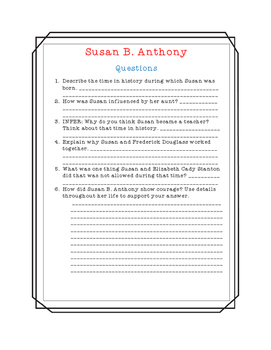 Susan B. Anthony Close Read, Comprehension, and Writing Packet