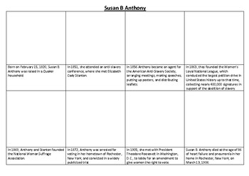 Susan B Anthony Comic Strip and Storyboard