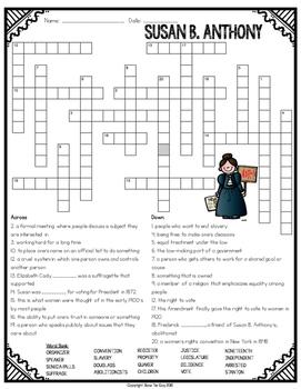 Susan B. Anthony Crossword