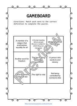 Susan B. Anthony Differentiated Puzzle Game