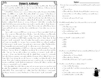 Susan B. Anthony Differentiated Reading Passages