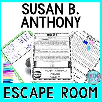 Susan B. Anthony ESCAPE ROOM:  Women's Suffrage Movement - Print & Go!