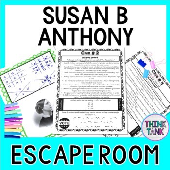 Susan B. Anthony ESCAPE ROOM:  Women's Suffrage Movement - Print & Go!