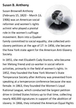 Susan B Anthony Handout