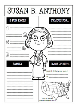 Susan B. Anthony Interactive Notebook Activities