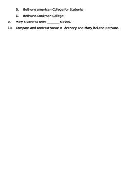 Susan B. Anthony/Mary McLeod Bethune Quiz