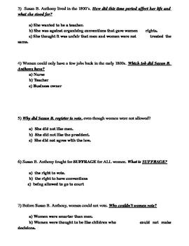 Susan B. Anthony Modified Assesment