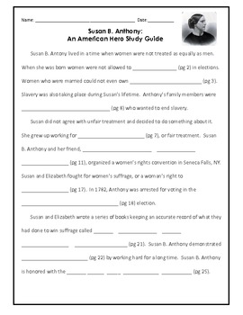 Susan B. Anthony Packet: Reading Comprehension, Study Guide & Test